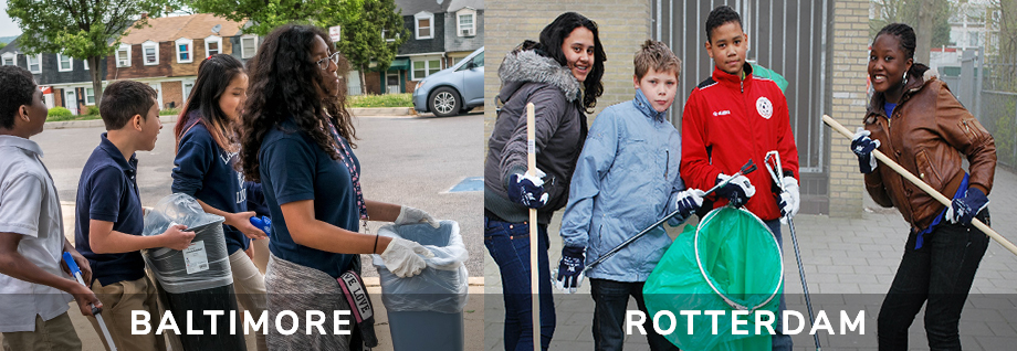 Students in Baltimore and Rotterdam doing community cleanups